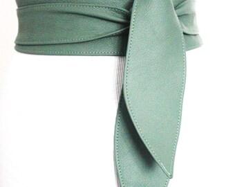 Light Green Obi Belt | Sash Belt | Waist Corset Belt | Leather Obi Belt | Bridal Belt | Wrap Belt | Green Corset Belt | Plus Size Accessory