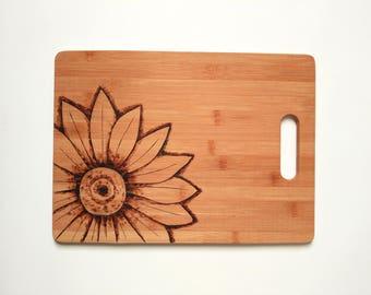 Sunflower, Wood Burned, Cutting Board, Gift, Wedding Gift, Kitchenware