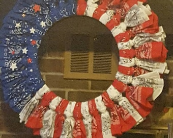 Handmade Red, White and Blue Bandana Wreath