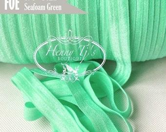 """5/8"""" Shiny SEAFOAM / Mint Green Fold Over Elastic Headband - 5 or 10 yds Solid foe - Elastic Hair Ties DIY Headband Supplies"""