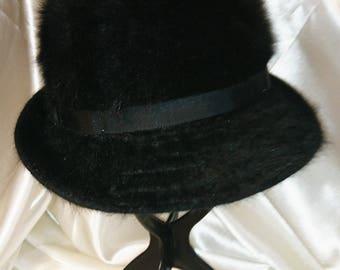 Vintage 1980's Kangol Angora wool hat, black vintage cloche hat