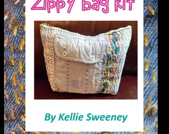 Zippy bag hand sewing kit with vintage fabrics