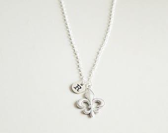 Fleur de lis jewelry etsy fleur de lis necklace fleur de lis jewelry personalized fleur de lis gift aloadofball Choice Image