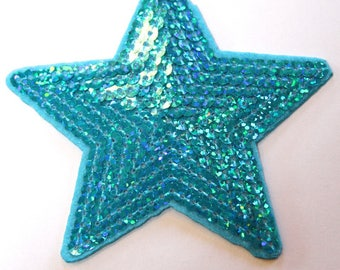 STAR SPANGLE TURQUOISE FUSIBLE APPLIQUE