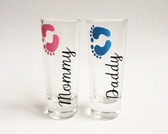 Mommy and Daddy Shot Glasses, New Parents Gift, New Parent Gift, Baby Shower Gift, New Baby Gift, Funny Gifts, Mommy Gift, Daddy Gift