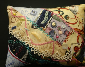 Crazy Quilted Pincushion with Tatting, Embroidery Buttons, etc.