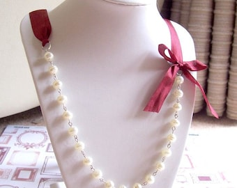 Pearl and Ribbon Bridal Necklace - Glass Pearls Ivory White Burgundy Wine Wedding - Jewellery Jewelry For Women Baroque Bow Asymmetrical
