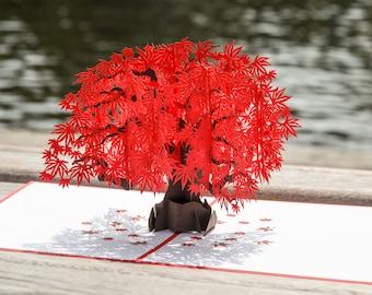 Japanese Maple Pop Up Card, Japanese Maple Tree 3D Pop Up Card, Red Japanese Maple Tree Card, Beautiful Maple Tree Japanese Pop Up Card