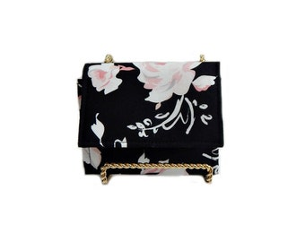 Black floral small womens wallet~ womens small wallet~minimalist wallet~accordion wallet~fabric wallet