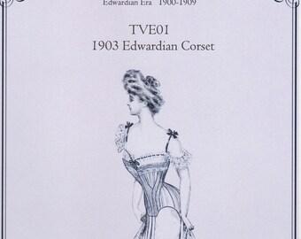 TVE01 - Truly Victorian #E01, 1903 Edwardian Corset Sewing Pattern