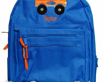Monster Truck Backpack, Boys Backpack, Personalized Backpack, Monogrammed, Custom, Custom Backpack, Monster Truck Backpack For Boys