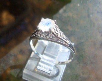 Rainbow Moonstone Ring VALERIE filigree Ring eco-friendly sterling silver with Fair Trade - Ready to mail in size 11