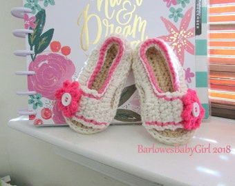 NEW - Buggs - Crochet Girl's Side Button Closure w/ Flower Accent Sandal in Ivory and Hot Pink - Customize Your Color