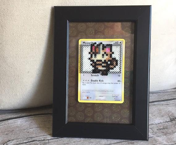 Meowth Pokemon Card Framed Perler Bead Pixel Art Video Game