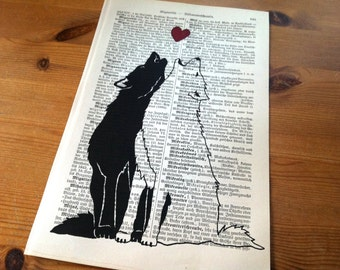Wolves Howling Valentine Love Wedding Engagement Anniversary Gift Personalized Art Print on Antique 1896 Dictionary Book Page