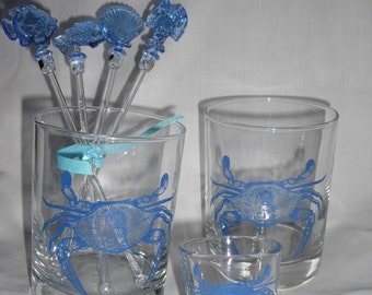 Blue crab double old fashion glasses, set of 4, Chesapeake Bay blue crab