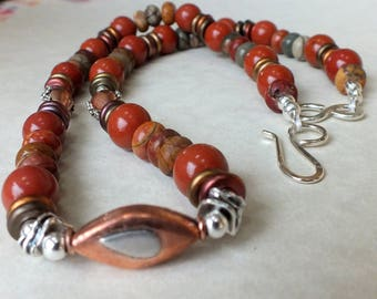 Red Jasper Necklace and Earrings Set. Gift for Her. Sterling and Copper Focal