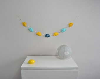 Garland of yellow and blue clouds