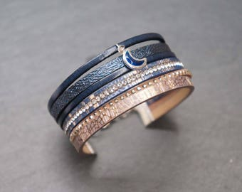 Leather and faux - Blue Moon Cuff Bracelet