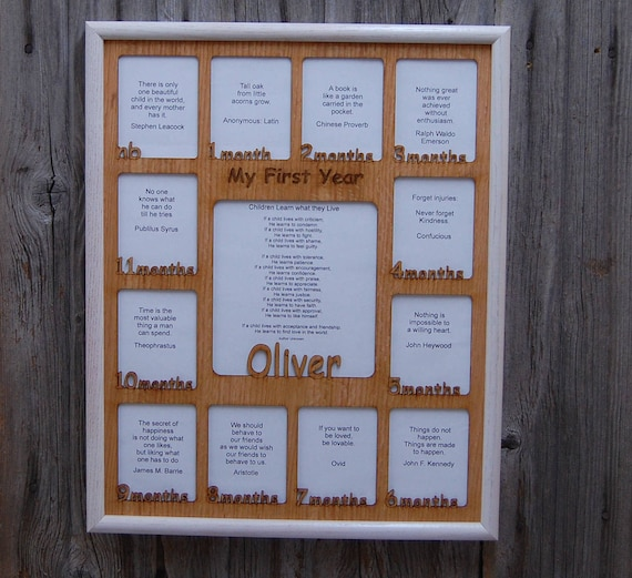 18x24 Baby First Year  - Personalized, Hand-Carved Wooden Picture Frame