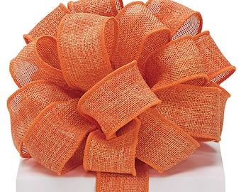 "1.5"" Orange Burlap Wired Ribbon Fall Halloween Wreath Bow Decor 3YARDS"