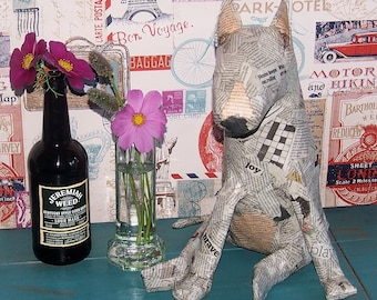 Bull Terrier Paper Mache Sculpture