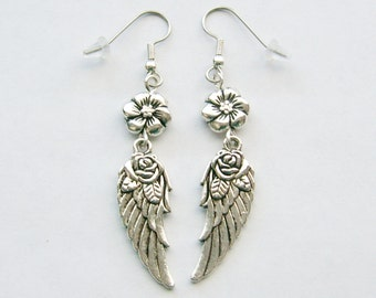 Long Flower and Wing Pierced or Clip On Earrings