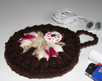 Headphones case, Puff Pocket, Purse pocket, Stash bag, Coffee Brown, Cherry Chip