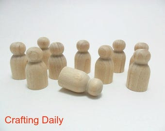 "Wood Peg People Doll Baby 1 3/16"" - 12 Pieces"