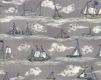 AHOY ME HEARTIES-by the yard by Moda fabrics & Janet Clare-Sailing fishing ships boats on gray 1432-13 cotton print