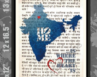 Map of india etsy map of india hindi script bhagvath gita india print india map art gumiabroncs Image collections