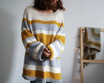 Mustard and Honey Pullover, Cotton Sweater, Spring Summer Knitwear
