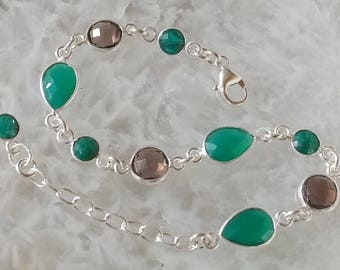 Green Onyx, Emerald, Smokey Quartz and Sterling Silver Bracelet