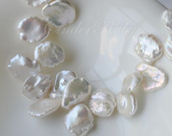 Top Drilled White Keshi  Freshwater Pearls, White Reborn Petal Fresh Water Pearls