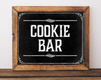 Cookie bar sign. Printable rustic party decor. Wedding sweets table sign. Wedding shower decorations. Party Cookie buffet sign. DIY prints