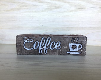 Rustic Coffee Lover engraved Brick