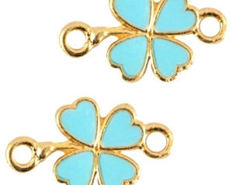 Summer Time-enamelled 4 leaf clover bracelet-intermediate part in summer colour-20x12mm