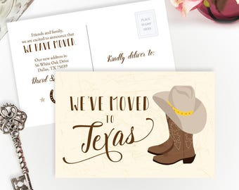 Texas moving announcement cards PRINTED | Change of address postcards | We've moved to Texas cards