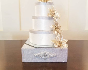 Rhinestone 12×12 Inch Cake Stand/ Cake Display/Bling Stand/Bling Tray/Wedding/Bridal Shower/Anniversary/Silver/