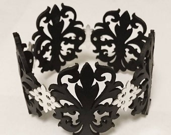 Black Laser Cut Leather Lace and Sterling Silver Cuff Bracelet - Fleur de Lis - OBSIDIAN QUEEN