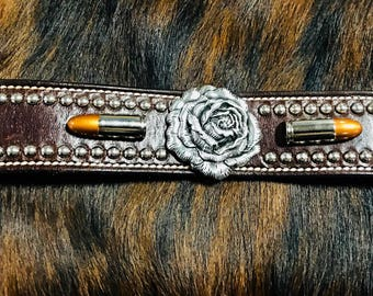 Leather Wristband with Concho