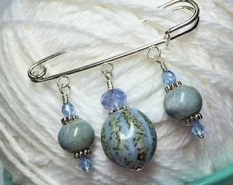 Blue Glazed  Shawl Pin- Beaded Kilt Pin Gift- Beaded Brooch Jewelry