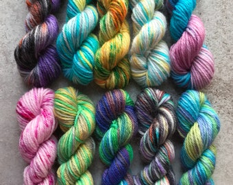 Hand Dyed Sock Yarn Mini Skein Set #168 -- 10 Mini Skeins/25 Yards Each