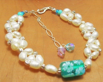 Wild Sea Green Pearl Bracelet-Beach Resort Style -Boho Chic Jewelry