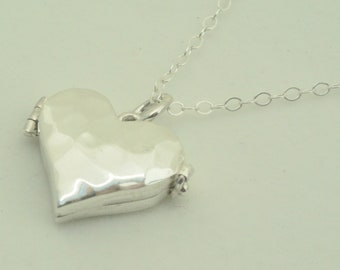 Sterling Heart Shaped Locket with Hammer Finish. Perfect for small picture, lock of hair, or message. Heart Jewelry for Mom, Wedding Gift