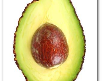 Avocado Print, Abstract Avocado, Summer Art, Tropical Avocado, Green Fruit Print, Kitchen Art, Avocado Decor, 8 x 10 inches, Unframed