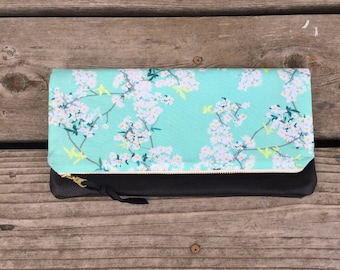 Leather floral foldover clutch