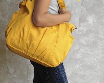 Mother s Day Big Sale IRIS // Lemon Chiffon / Lined with Beige / 052 // Ship in 3 days // Messenger / Diaper bag / Shoulder bag / Tote bag /