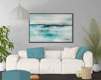 Large Abstract Ocean Painting, Large Seascape Painting, Turquoise Painting,  Gray Blue Painting,
