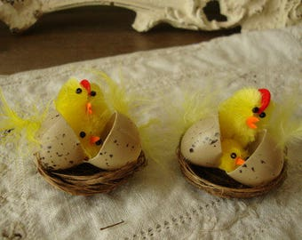 chenille chicks in twig nest mini easter crafts supplies party favors kids easter crafting embellishments Vintage style Chicken decorations